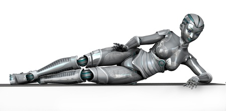 3D render of a female robot laying on the edge of a frame or blank sign.