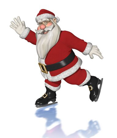 Santa enjoys ice skating - 3d render.