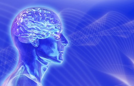 Glass male head with brain on blue Stock Photo