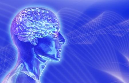 Vidrio hombre la cabeza con el cerebro en el azul Foto de archivo