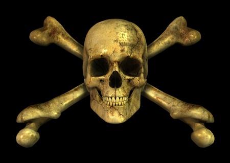 3D render van een grungy schedel en gekruiste knekels.