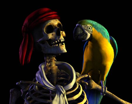 3D render of a skeleton pirate with his parrot.