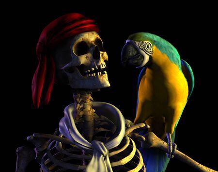 3D render van een skelet piraat met zijn papegaai.