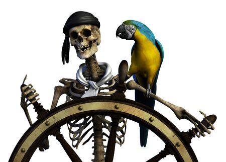 3D render van een skelet piraat.