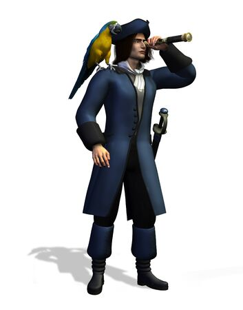 3D render of a pirate with a parrot on his shoulder, looking through a spyglass.