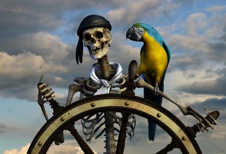 3D render van een skelet piraat. De achtergrond is van een van mijn sky foto's. Stockfoto