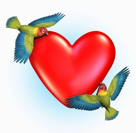 Two Lovebirds Near a Heart - 3D render. 版權商用圖片