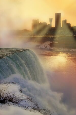 Niagara Falls at sunset in winter - photo with digital painting.