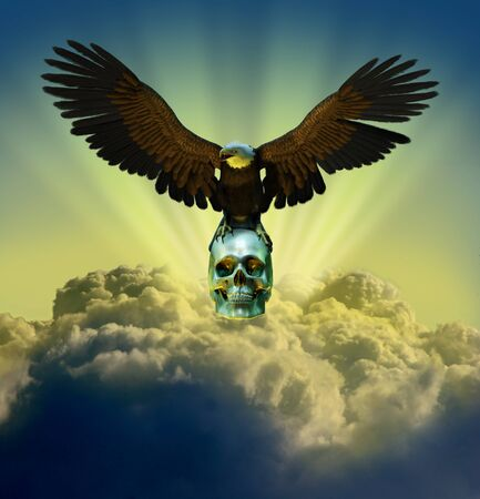 3D render of a bald eagle perched on a human skull - the sky is a digitally manipulated photo.