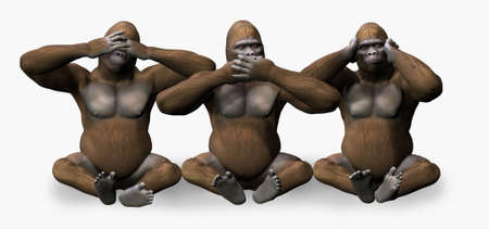 See, Speak, Hear No Evil Gorillas - 3D render