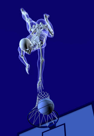 3D render of an x-ray man shooting a basket, view from above.