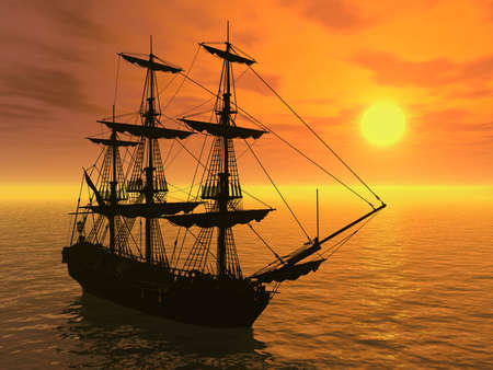 Tall Ship at Sunset - 3D render Stock Photo