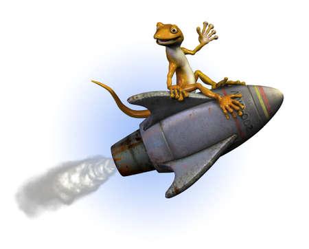 Gecko riding a rocket -3D render.