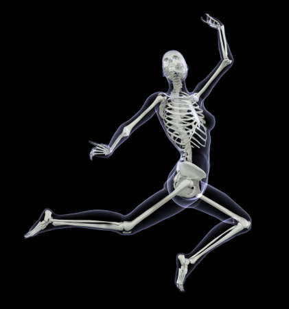Skeleton in Motion - Woman Leaping - 3D render - Side View