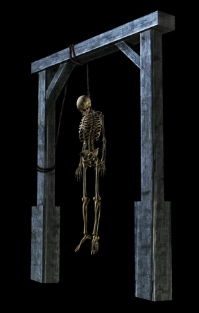 3D render of a skeleton hanging from a noose - on black