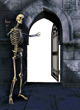 Skeleton with Gate - 3D render