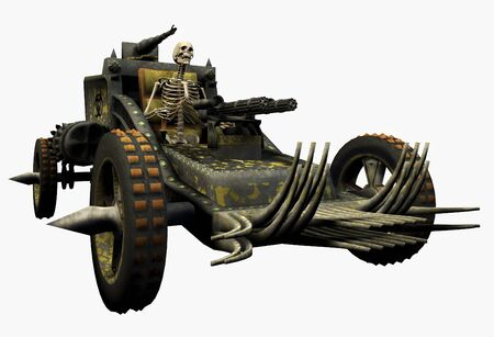 Skeleton Driving a War Machine - 3D render Stok Fotoğraf