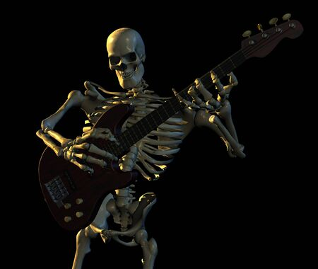 Skeleton playing guitar - 3D render 免版税图像