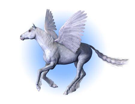 Pegasus - winged horse - 3D render. 版權商用圖片