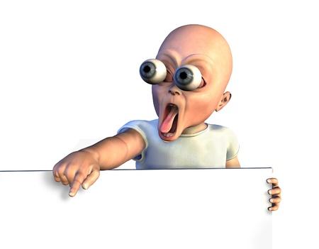 빈 기호의 가장자리에 기대어, 엉뚱한 충격을 아기의 3D 렌더링합니다.