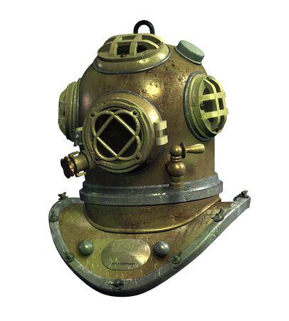3D render van een antieke scuba helm.
