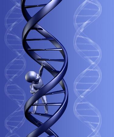아기가 배경으로, DNA의 가닥을 등반의 3D 렌더링합니다.