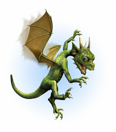 A baby dragon panics while struggling to learn how to fly. 3D render. Stockfoto