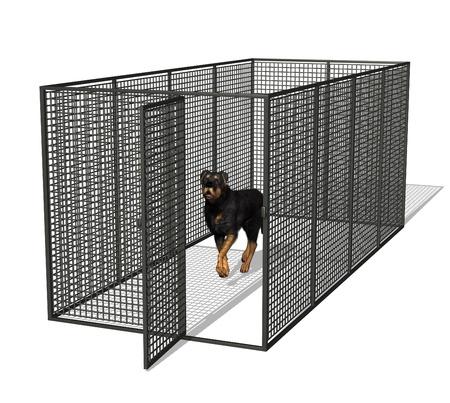 Rottweiler hond in kennel - 3D render