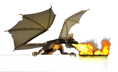 3D render of a dragon burning the top edge of a sign, white background.
