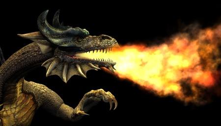 3D render de un dragón de fuego de respiración - retrato. Foto de archivo