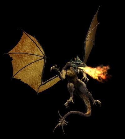 3D render de un dragón escupiendo fuego.