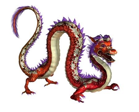 Red Oriental Dragon -- 3D render 版權商用圖片