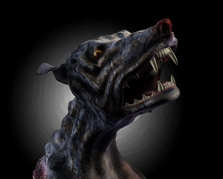 3D render of a desperate hound howling from the depths of Hell.
