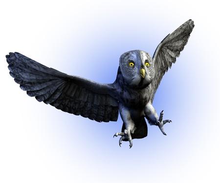 大きな灰色のフクロウの 3 D のレンダリング。