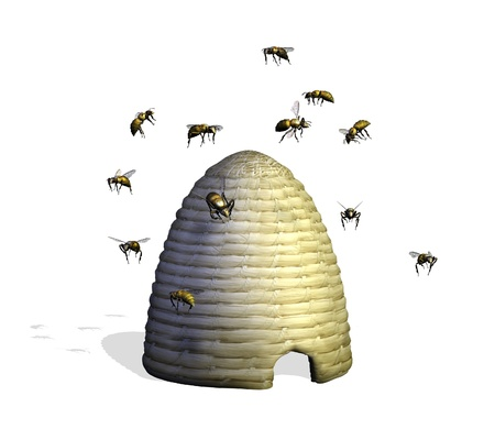 3D render of a bee hive surrounded by bees.