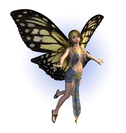蝶の妖精の 3 D レンダリング。 写真素材