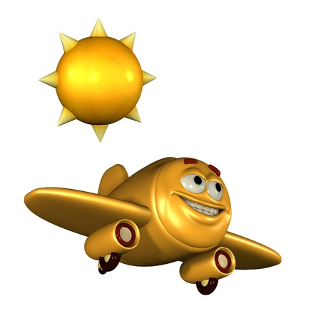 Happy emoticon plane flying on a sunny day.