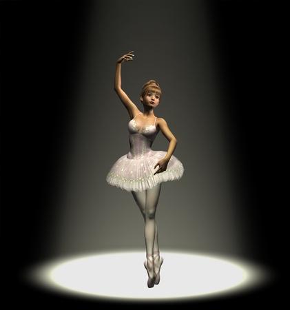 3D render of a ballerina dancing under a spotlight.