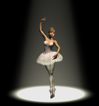 3D render of a ballerina dancing under a spotlight.