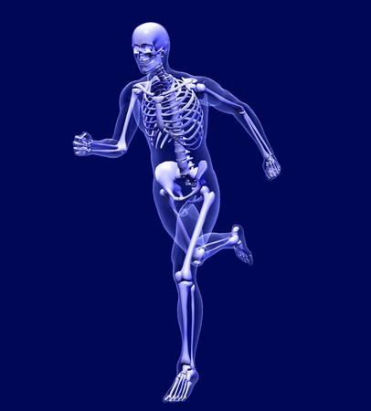 3D render simulating an Xray image of a man running.