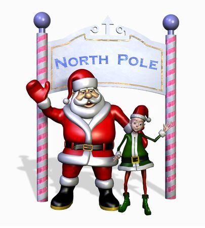 Santa and his Elf at the North Pole - 3D render. Banco de Imagens