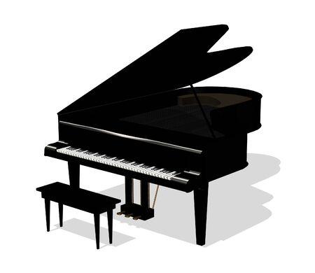 Piano - 3D-Render. Standard-Bild - 11711196