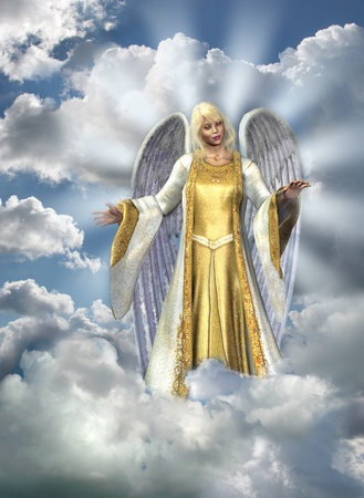 3D render of an Angel in the sky. Sky and clouds are composed from my digital photos.