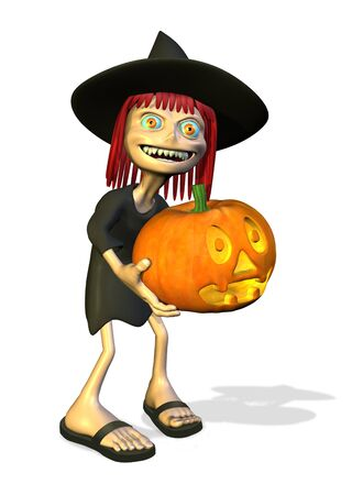 Cartoon Witch with Pumpkin - 3D render 版權商用圖片