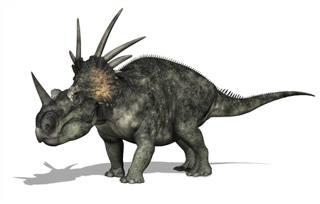 The Styracosaurus dinosaur lived during the Cretaceous Period - 3D render.