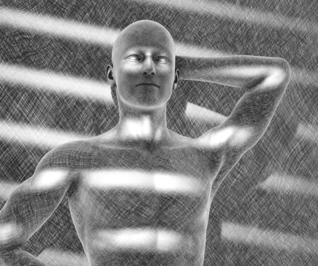 A man is defined entirely by the interplay of light and shadow. This is a 3D render - special shaders were used to create the appearance of a pencil drawing. Stock Photo
