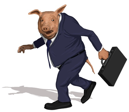 A pig dressed as a greedy corporate executive takes his bonus and walks away.