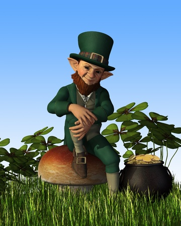 A leprechaun is relaxing on a toadstool, with his pot of gold nearby - 3D render. Archivio Fotografico