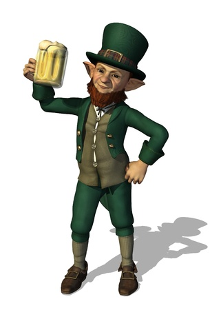 A cheerful leprechaun is enjoying a mug of beer - 3D render.