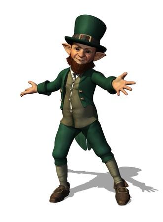 A friendly leprechaun welcomes you - 3D render.